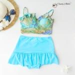 (free size) ชุดว่ายน้ำ ทูพีช บราแบบใหม่มาพร้อมโครงเหล็กช่วยให้กระชับและดันทรง ลายสีทองฟ้าเขียว ชุดว่ายน้ำ-corset03
