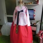 """Princess Hanbok แบบชาววัง (ทังอี) แนวเจ้าหญิง ผ้าไหม อก 34"""" สูง 162"""