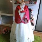 """Hanbok สีแดงตัดขาว อก 38"""" สูง 160"""