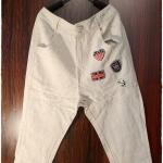 กางเกงขา 5 ส่วน สไตล์ลำลอง สีบีจ แต่งแทกเก๋