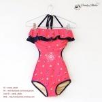 (Size M)ชุดว่ายน้ำวันพีช สีชมพูลายดอกไม้ ระบายอก ช่วยเน้นสัดส่วน เอวโค้งช่วยให้ดูมีสะโพก