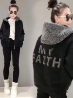 KW6011003 เสื้อกันหนาวแฟชั่นเกาหลีสวมหัวมีฮูดสีดำซิปหน้าผ้าผสมขนสัตว์รุ่นใหม่แนวสปอร์ต (Preorder)