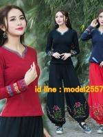 UM6102018 เสื้อยืดแขนยาวโมฮีเมียนสีดำและแดง เย็บปักถักร้อยชาติพันธุ์