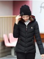 CW6010010 เสื้อโค้ทกันหนาวสีดำอุณภูมิติดลบผ้าโพลีเอสเตอร์ผสมขนสัตว์มีฮูด