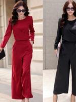 UP5910002 ชุดสูทกางเกงเสื้อแขนยาวสำหรับสาวทำงานหรู (พรีออเดอร์)