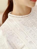 RP5911056 เสื้อลูกไม้เกาหลีสวยหวาน คอสูงแขนยาวฤดูหนาว(พรีออเดอร์)