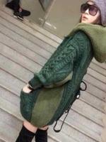 QW6011002 เสื้อคลุมกันหนาวไหมถักสีเขียวเด่นมีฮูด(พรีออเดอร์) รอ 3 อาทิตย์หลังโอน