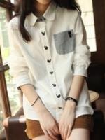 GW5712011 เสื้อเชิ้ตสาวเกาหลี สีขาวแต่งการ์ตูนน่ารัก (พรีออเดอร์)รอสินค้า 3อาทิตย์หลังโอนเงิน