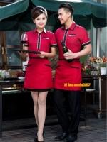 F6105007 เสื้อฟอร์มพนักงานต้อนรับ เสริฟร้านอาหารกาแฟโรงแรม แขนสั้น