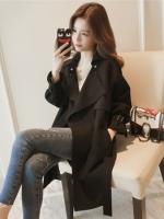 CW6010006 เสื้อคลุมกันหนาวเกาหลีฤดูใบไม้ร่วง สีดำแขนยาว(พรีออเดอร์)