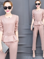 UP5910009 เสื้อชุดกางเกงสูทผู้หญิงคอกลมแขนยาวสาวทำงานแฟชั่นเกาหลี