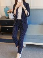 UP6011003เสื้อชุดสูทผู้หญิงลายทางสีน้ำเงินเข้มสาวทำงานแฟชั่นเกาหลี