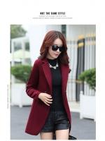 CW5908005 เสื้อโค้ทขนสัตว์ (ผ้าวู) ปกเชิ้ตสีดำงานเกาหลี คุณภาพดีงานสวยมาก (พร้อมส่ง)ไวน์แดง M L