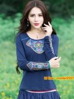 UM6103001 เสื้อยืดโมฮีเมียนแขนยาวคอกลมแต่งลายปะดอกไม้หวาน