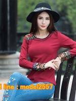 UM6102014 เสื้อยืดแขนยาวโมฮีเมียนสีดำและแดง เย็บปักถักร้อยชาติพันธุ์