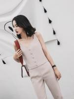 UP6011006 เสื้อชุดกางเกงขายาวเสื้อกล้ามลำลองสาวเกาหลีสีครีมเรียบหรู