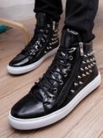 XV6003004 รองเท้าหนังบู๊ทผู้ชายรองเท้าฮิปฮอป สูงส้นแบนแต่งหมุด แฟชั่นเกาหลี (พรีออเดอร์) รอ 3 อาทติย์หลังโอน