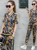 UP6011010 เสื้อชุดเบสบอลซิปหน้าเกงขายาวพิมพ์ลายใบไม้สีดำเหลืองฤดูร้อน