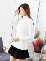 QW6012003 เสื้อกันหนาวไหมถักคอสูงคอเต่าสีขาวและสีดำ พร้อมส่ง