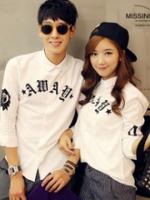 GW5712009 เสื้อเชิ้ตสาวเกาหลี สีขาวพิมพ์อักษรอังกฤษชายหญิง (พรีออเดอร์)รอสินค้า 3อาทิตย์หลังโอนเงิน