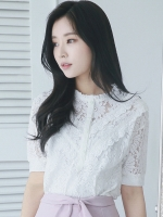 UP6106002 เสื้อลูกไม้ฉลุสีขาวคอกลมตัวยาวแขนห้าส่วนเกาหลีสาวหวาน