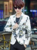 JM6105001 เสื้อสูทผู้ชายพิมพ์ลายสีขาวเข้ารูปแฟชั่นเกาหลี