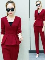 UP5910004 เสื้อชุดสูทกางเกงเสื้อแขนยาวคอวี แฟชั่นสาวทำงานเกาหลี (พรีออเดอร์)