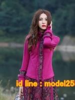UM6102012 เสื้อยืดแขนยาวโมฮีเมียนสีม่วง เย็บปักถักร้อยชาติพันธุ์