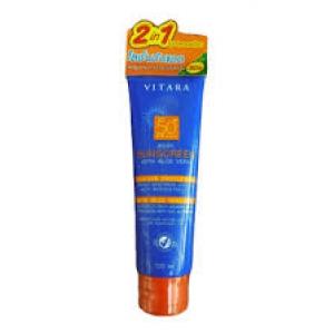 ใหม่!! Vitara Body Sunscreen Lotion SPF50+ PA+++ 120 ml with ALOEVERA โลชั่นป้องกันแสงแดดสำหรับผิวกาย สูตรผสมว่านหางจระเข้เข้มข้นถึง 50%