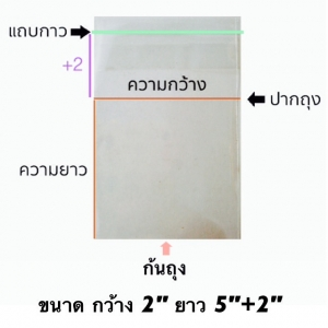 ถุงแก้วแถบกาว 1/2 โล ขนาด 2*5+1.5 นิ้ว ประมาณ 600ใบ