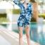 [Size M, L, XL] ชุดว่ายน้ำวันพีชขาสั้นซิปหน้า ลายดอกสีฟ้า thumbnail 5