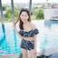 [Free size] ชุดว่ายน้ำทูพีชบราเปิดไหล่ รุ่น Laila ลายหินอ่อน สีดำ thumbnail 6