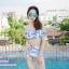 [Free size] ชุดว่ายน้ำทูพีชบราเปิดไหล่ รุ่น Laila ลายหินอ่อน สีขาว thumbnail 1