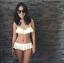 (Size S,M) ชุดว่ายน้ำทูพีช ตะขอเกี่ยวหลังและผูกคอ มีซีทรูช่วงอก บราระบายสีดำ กางเกงเอวต่ำมีระบาย thumbnail 2