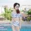 [Free size] ชุดว่ายน้ำทูพีชบราเปิดไหล่ รุ่น Laila ลายหินอ่อน สีขาว thumbnail 8