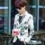 JM6105001 เสื้อสูทผู้ชายพิมพ์ลายสีขาวเข้ารูปแฟชั่นเกาหลี thumbnail 3