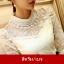 RP5911004 เสื้อลูกไม้สีขาว สีดำเกาหลีสวยหวาน คอเต่าแขนยาว (พรีออเดอร์) thumbnail 4