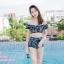 [Free size] ชุดว่ายน้ำทูพีชบราเปิดไหล่ รุ่น Laila ลายหินอ่อน สีดำ thumbnail 2