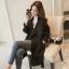 CW6010006 เสื้อคลุมกันหนาวเกาหลีฤดูใบไม้ร่วง สีดำแขนยาว(พรีออเดอร์) thumbnail 1