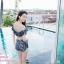 [Free size] ชุดว่ายน้ำทูพีชบราเปิดไหล่ รุ่น Laila ลายหินอ่อน สีดำ thumbnail 3