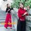 UM6102016 เสื้อยืดแขนยาวโมฮีเมียนสีดำและแดง เย็บปักถักร้อยชาติพันธุ์ thumbnail 1