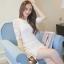 RP5911012 เดรสลูกไม้คอกลมแขนห้าส่วนเกาหลีเข้ารูปสวยหวาน(พรีออเดอร์) thumbnail 3