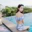 [Free size] ชุดว่ายน้ำทูพีชบราเปิดไหล่ รุ่น Laila ลายหินอ่อน สีขาว thumbnail 4