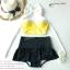 (Free Size) ชุดว่ายน้ำ ทูพีช บราเป็นแบบตะขอหลังสีเหลือง กางเกงกระโปรงระบายล่างสีดำ ชุดว่ายน้ำ คอโบว์ thumbnail 2