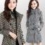 CW6010008 เสื้อโค้ทเสื้อคลุมกันหนาวเกาหลีผ้าผสมขนสัตว์สีดำและขาว(พรีออเดอร์) thumbnail 2