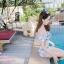 [Free size] ชุดว่ายน้ำทูพีชบราเปิดไหล่ รุ่น Laila ลายหินอ่อน สีขาว thumbnail 2