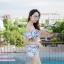 [Free size] ชุดว่ายน้ำทูพีชบราเปิดไหล่ รุ่น Laila ลายหินอ่อน สีขาว thumbnail 6