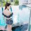 [Free size] ชุดว่ายน้ำทูพีชบราเปิดไหล่ รุ่น Laila ลายหินอ่อน สีดำ thumbnail 4
