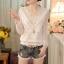 RP5911050 เสื้อลูกไม้เกาหลีสวยหวาน คอวีแขนยาวฤดูใบไม้ร่วงและฤดูหนาว(พรีออเดอร์) thumbnail 1