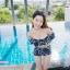 [Free size] ชุดว่ายน้ำทูพีชบราเปิดไหล่ รุ่น Laila ลายหินอ่อน สีดำ thumbnail 7